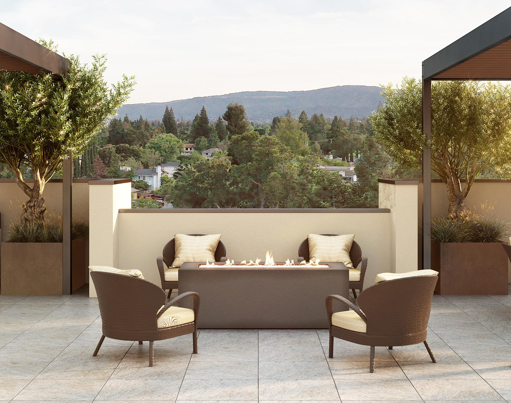 Outdoor patio with view